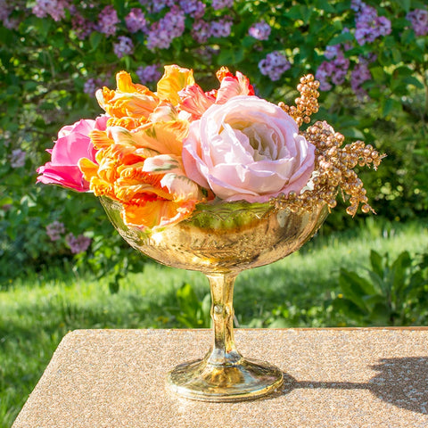 Clear Glass Compote Dish, Bowl with Pedestal, 7.25 inches x 5.5 inches