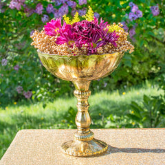 Scalloped Mercury Glass Compote, Relief Pattern, 9.5 in, Antique Gold