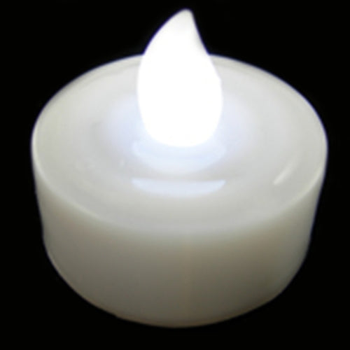 Tea Light Candle, LED Flickering, White, Pack of 12