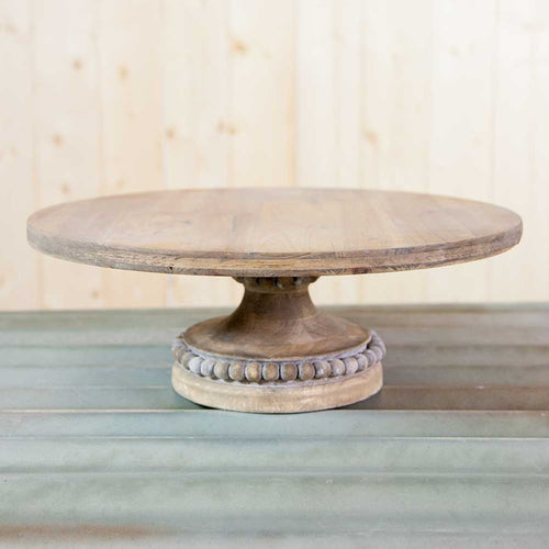 Wooden Cake Stand, Round Display Platform, Beaded Base, 16 inch
