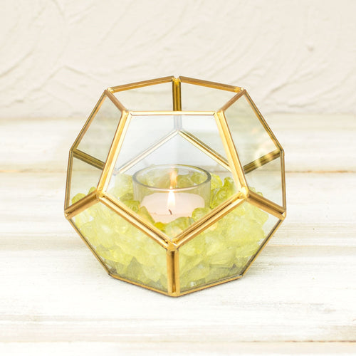 Geometric Terrarium, Industrial Candle Holder, Clear, 4.75 inch, Gold