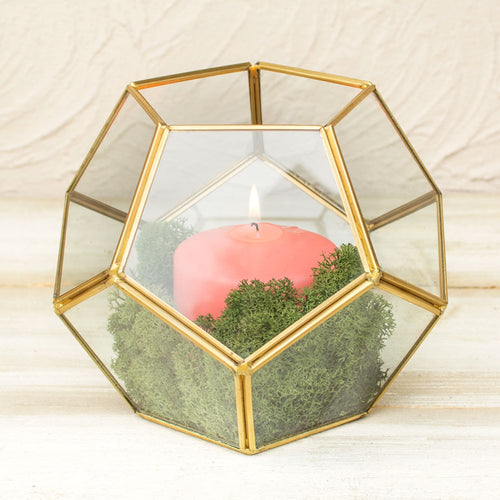 Geometric Terrarium, Industrial Candle Holder, Clear, 6 inch, Gold