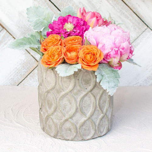 Concrete Planter Pot, Helix Patterned Vase, 6 inches, Grey