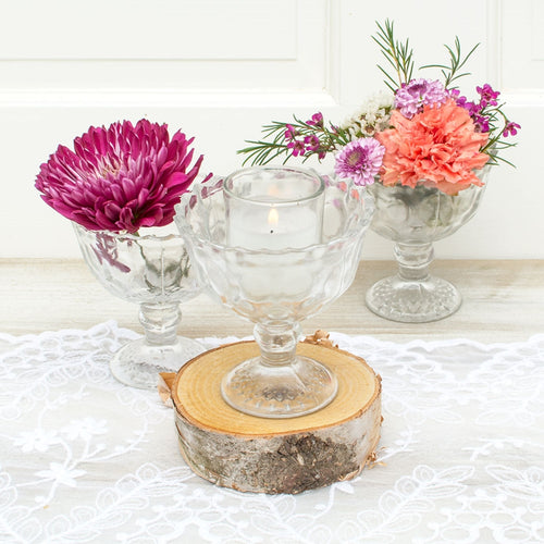 Glass Compotes, Heirloom Bowls with Pedestal Base, 4.25in, Clear, 6 PK