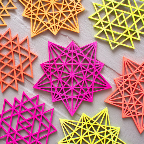 Geometric Ornaments, Laser Cut Wood, Multicolored Neon, Set of 8