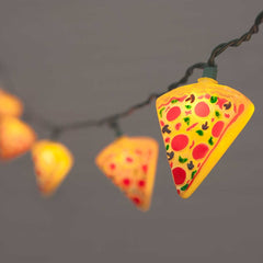 Pizza String Lights, 10 Slices, Green Wire, 8.5 feet, Warm White