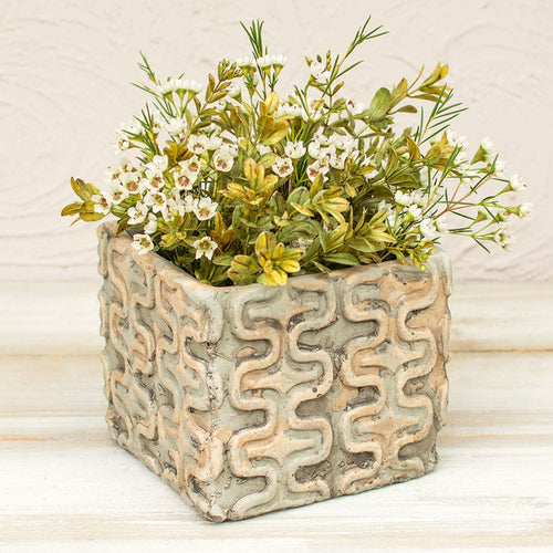 Square Planter Pot, Tribal Patterned Ceramic Vase, 5.25 inch, Grey