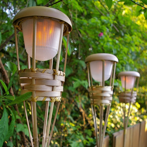 Tiki Torch Light, Bamboo, Flickering LED, Battery Operated, Luau