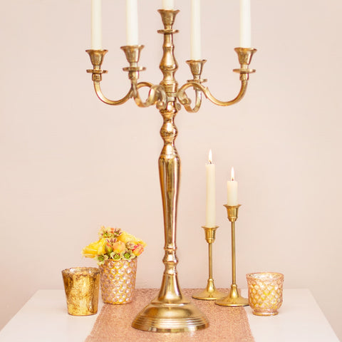 Candelabra, Metal Candle Holder, Table Decor, 15.5 in, Champagne Gold