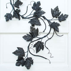 Maple Leaf Garland, Faux Vine, Halloween Branch, 4.5 feet, Black