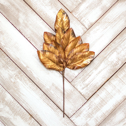 Magnolia Leaf Sprig, Faux Branch, Artificial, 24 inch, Bronze & Gold