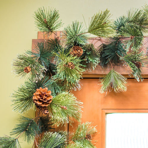Faux Evergreen Garland with Pine Cones, Artificial Swag, 6 foot, Green