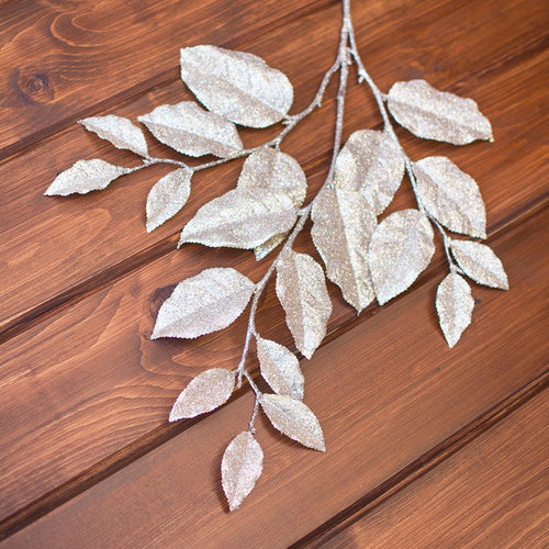 Faux Leaf Spray, Artificial Glitter Branch, 30 inch, Champagne Gold