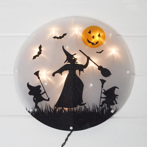 Window Decoration, Halloween Witch, 13.75 inch, 10 Lights, Plug-in