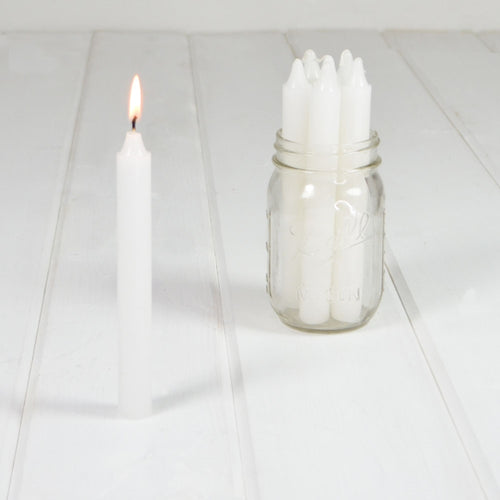 Stick Candles, Formal Dinner, Unscented Real Wax, 7 inch, White, 7 Pk