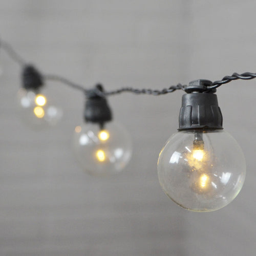 Globe String Lights, G40 LED Bulb, 5 ft,Timer, Battery Op, Warm White