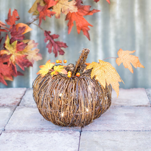 Lighted Grapevine Pumpkin with Fall Leaves, Plug In, Brown Wire, 9 in