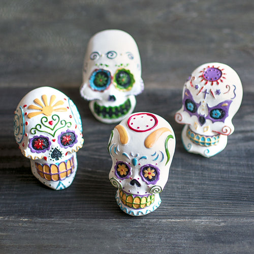 Day of the Dead Skulls, Calaveras Figurines, 3.25in, Assorted Set of 8