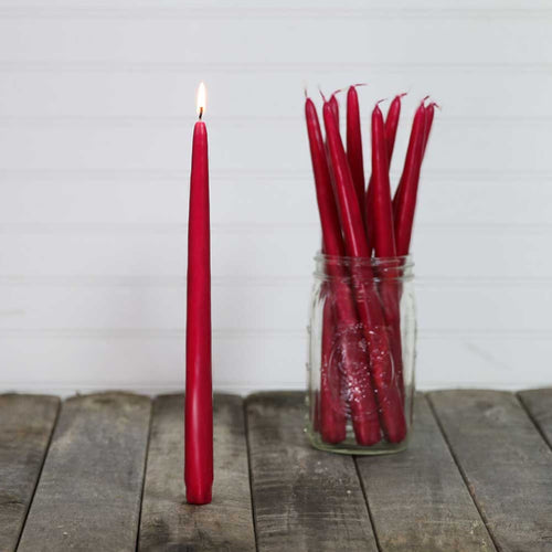 Hand Dipped Taper Candles, Patrician, 12in, Cranberry Red, 12 pack