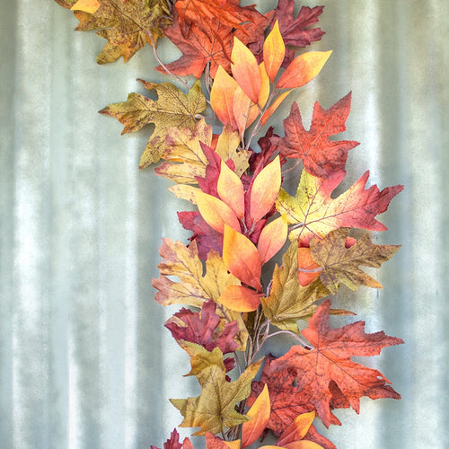 Faux Maple Leaf Garland, Artificial Branch, 6 foot, Rustic Multicolor