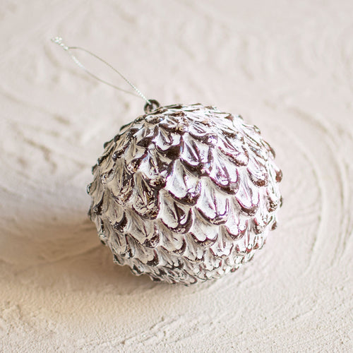 Antique-Inspired Bauble Ornament, Faux Pine Cone, 4.25 inch, White