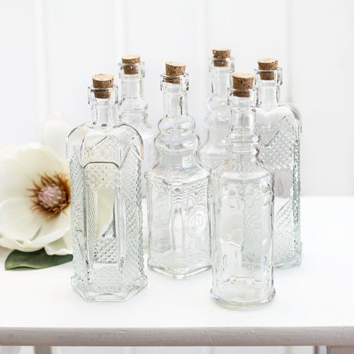 Vintage Apothecary Bottles, Assorted 6.5in Glass Bud Vases, Clear, 6Pk