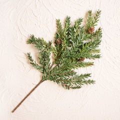Faux Hemlock Sprig with Pine Cones, Artificial Branch, 18 inch, Green