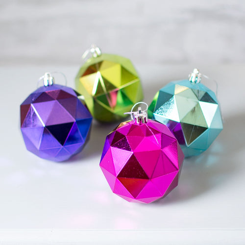 Geometric Christmas Tree Ornaments, Metallic, 3 in, Multicolor, 12 Pk