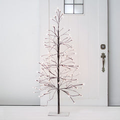 LED Lighted Winter Tree, Flocked Snow, Plug In, 4 feet, Warm White