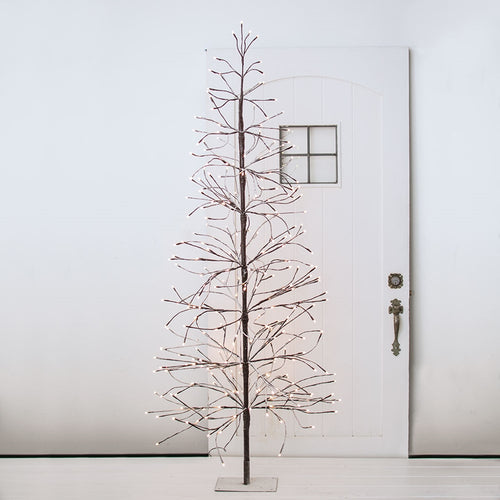LED Lighted Winter Tree, Flocked Snow, Plug In, 6 feet, Warm White