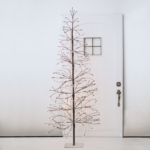 Lighted LED Tree, 6 feet, Black Branches, Plug In, Outdoor, Warm White