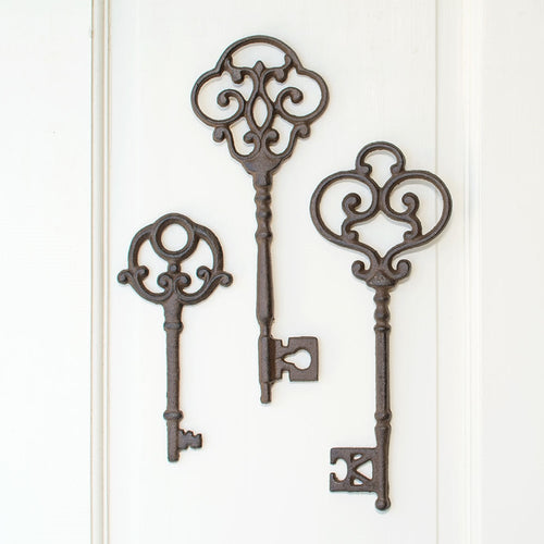 Antique-Inspired Skeleton Keys, Cast Iron, 7-9 inch, Brown, Set of 3