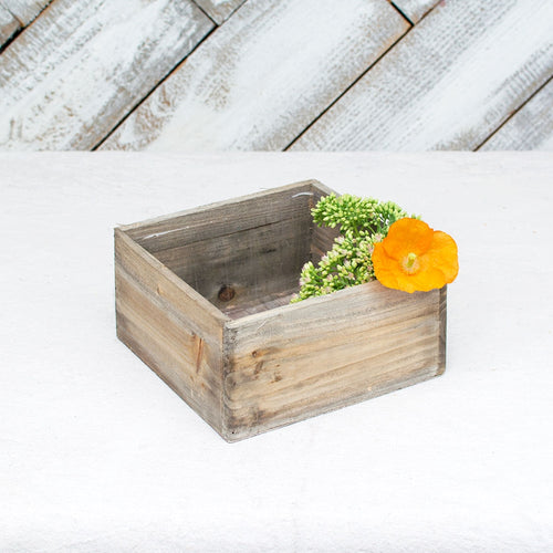 Planter Box, Rustic Barn Wood, Plastic Liner, 7 inch Square, Brown