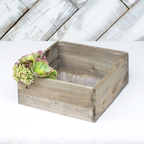 Planter Box, Rustic Barn Wood, Plastic Liner, 9.25 inch Square, Brown