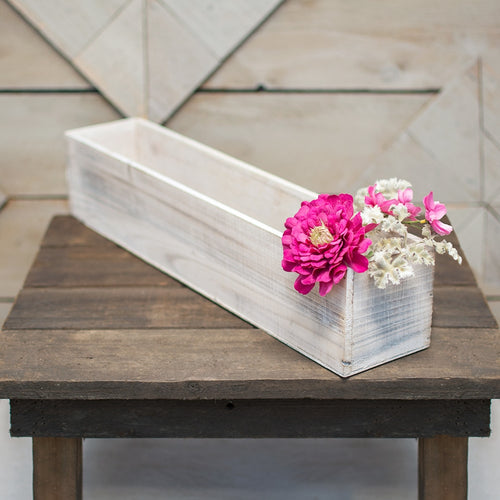 Planter Box, Rustic Wood, Plastic Liner, Rectangle, 20 inch, Whitewash