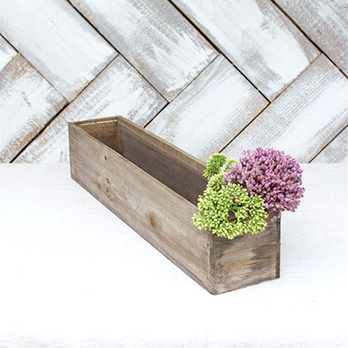 Planter Box, Rustic Barn Wood, Plastic Liner, Rectangle, 20 in, Brown
