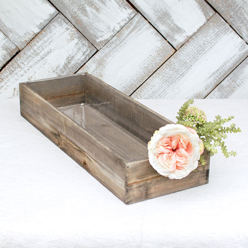 Planter Box, Rustic Wood, Plastic Liner, Rectangle, 18.75 inch, Brown