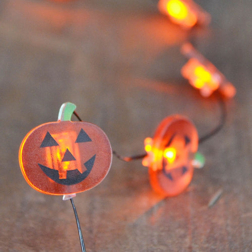LED Fairy Lights, Halloween Pumpkin, Battery, Black Wire, 4.5ft, Orange