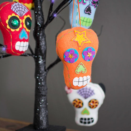 Day of the Dead Felt Sugar Skull Ornaments, Assorted Set of 9