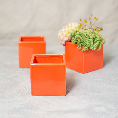 Square Ceramic Vase, Cube Flower Pot, 3.25 inches, Neon Green