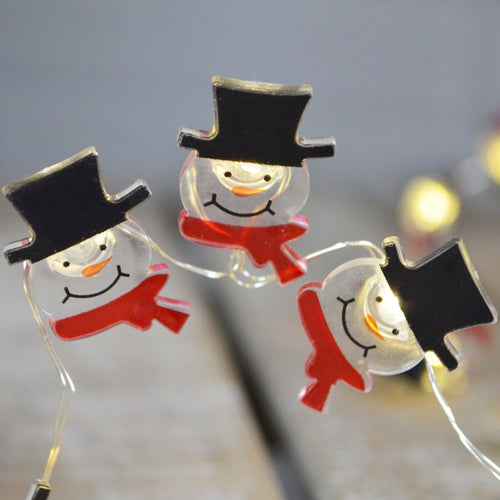 LED Fairy Lights, Christmas Snowman, Battery, 4 feet, Warm White