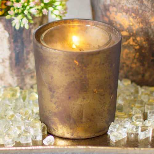 Rustic Mercury Glass Votive Candle Holders, 2.75in, Matte Bronze, 6 Pk