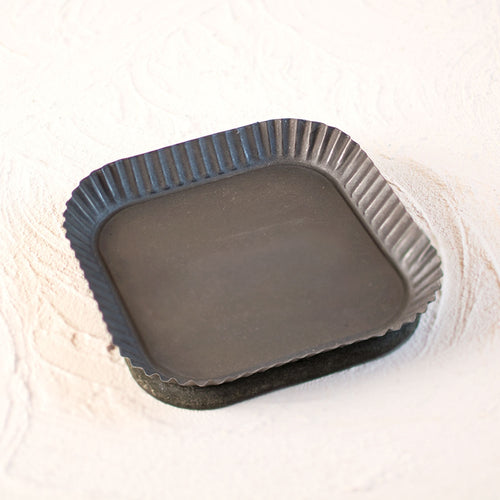 Square Rustic Tray, 7 inch wide Tart Tin, Wood & Metal, Black