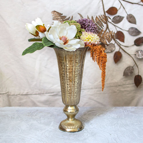Metal Fluted Vase, Scalloped Weathered Compote, 14 in, Champagne Gold
