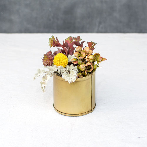 Floral Pot, Metal Candle Holder, Matte Wedding Decor, 3 inch, Gold