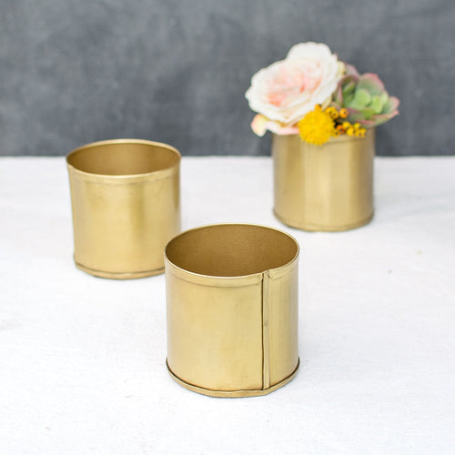 Floral Pot, Metal Candle Holder, Matte Wedding Decor, 3 in, Gold, 8 Pk