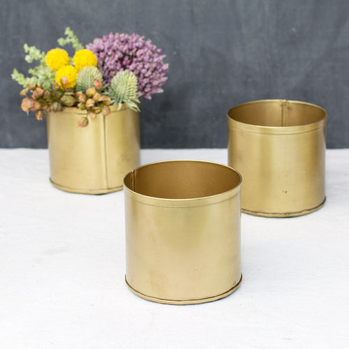 Floral Pot, Metal Candle Holder, Matte Wedding Decor, 4 in, Gold, 8 Pk