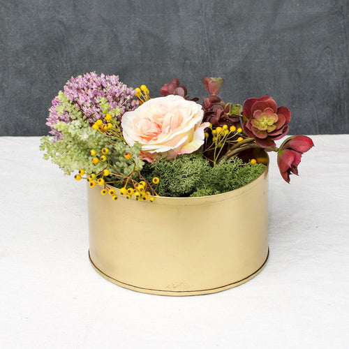 Planter Pot, Industrial Metal Vase, Matte Modern Decor, 4.25 in, Gold