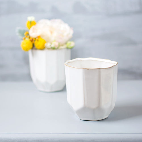 Geometric Vase, Ceramic Planter Pot, 4.25 inch, White, 4 Pack