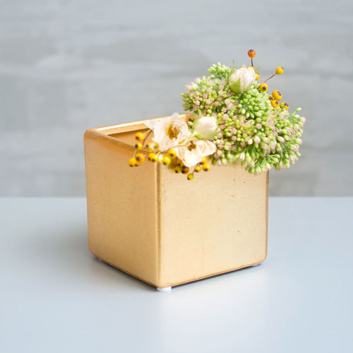 Square Ceramic Vase, Cube Flower Pot, 4 inch, Metallic Gold